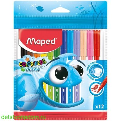 "Фломастеры Maped, ""Color'Peps"", Ocean, 12 цв., пласт. упаковка"