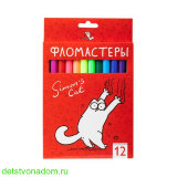 Фломастеры, Hatber, Simon's cat, 12 цв., карт.упаковка
